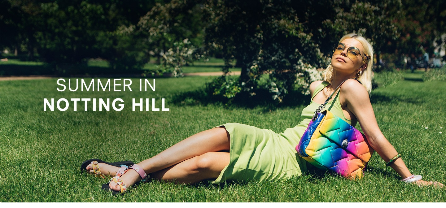 Girl laying down. Summer in Notting Hill. Shop - Bags