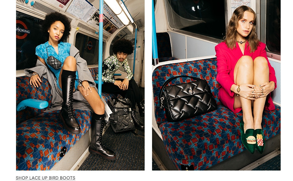 Left image is a model wearing the Lace Up Bird Boots. Right image is a model wearing the Junkfort Mules