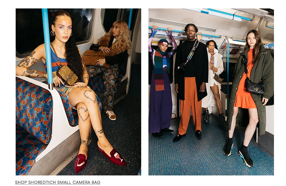 Left image shows ladies on tube, one covered in tattoos wearing the Shoreditch Small Camera Bag. Right image is a group photo of Kurt Geiger products